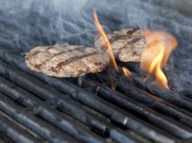 Two Chicken meat burger steaks on the grill with flames. cookin. G chicken grilling or bbq or barbecue on charcoals. Close up Stock Images