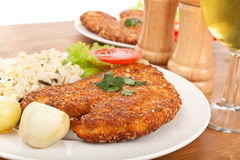 Two Chicken Parmesan with Rice and Wine Royalty Free Stock Photo