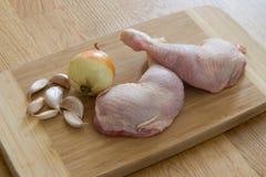 Raw chicken pieces stock photos