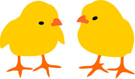 Two chickens. Two simple chickens vector isolated white background Stock Images