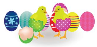 Two chickens coming from Easter eggs Royalty Free Stock Photos