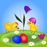 Two chickens and easter eggs Royalty Free Stock Photo
