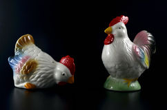 Two chickens front facing - porcelain figure Royalty Free Stock Images