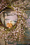 Two chicks on easter wreath Royalty Free Stock Photos