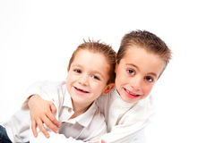 Two child funny brothers Royalty Free Stock Photography