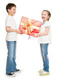 Two child with gift boxes Royalty Free Stock Photo