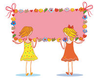 Two child girls with banner Stock Images