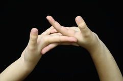 Two child hand and fingers Stock Images