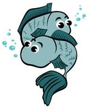 Two child pisces mascot illustration Royalty Free Stock Image