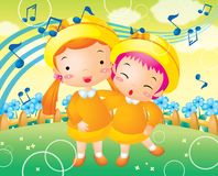 Two children. Happy two children on the park Royalty Free Stock Images