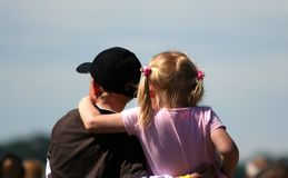 Two children. Looking ahead above a crowd Stock Photos