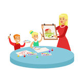 Two Children In Art Class Drawing Cartoon Illustration With Elementary School Kids And Their Teacher In Creativity. Lesson. Happy Schoolkids Painting With vector illustration