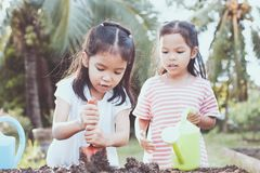 Two children asian little girl having fun to prepare soil. For planting seedling young tree together in vintage color tone Stock Photography