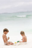 Two children on beach Royalty Free Stock Photo