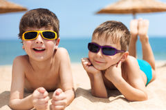 Two children on the beach Royalty Free Stock Photography