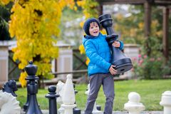 Two children, boy brothers, playing chess with huge figures in t. He park on the ground, autumn time. Childhood happiness concept, kids playing in the park fall Stock Image