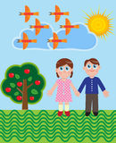 Two children. Boy and girl stand on a box next to an apple tree with apples in the sky birds royalty free illustration
