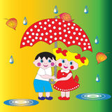 Two children a boy and a girl under an umbrella. Royalty Free Stock Images
