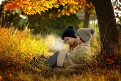 Two children, boys, hugging under blanket, sitting under a tree. On a sunny autumn afternoon, holding lantern, beautiful autumn colors Stock Photo