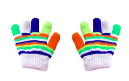 Two children colored gloves Royalty Free Stock Photos