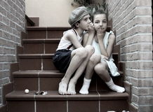 Two children. Confidence between two little friends Royalty Free Stock Image
