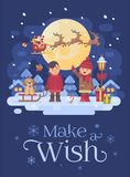Two children with dog playing outside on a snowy winter night. Boy with a sled and a puppy. Girl pointing at Santa Claus in a royalty free illustration