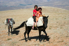 Two children on donkey Royalty Free Stock Photos