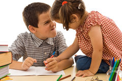 Two children drawing royalty free stock photos