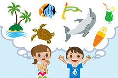 Two children Dreaming Happy summer Vacations Stock Photos