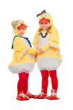 Two children dressed as ducks Royalty Free Stock Photo