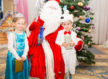 Two children dressed in carnival suits  with Santa Claus near christmas fir tree. Two children dressed in carnival suits near christmas fir tree in New Year's Royalty Free Stock Images