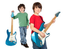 Two children with electric guitar. Two children whit electric guitar a over white background Stock Photography