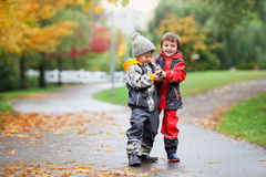 Two children, fighting over toy in the park on a rainy day Royalty Free Stock Images