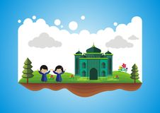 Two Children on Floating Map with mosque Stock Image