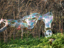 Two children hands hold huge bubble bizarre. On blurred background Royalty Free Stock Images