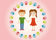 Two children holding hands amorously. Cute background with kids and handprints. Children's illustration. Background with children. Picture a boy and a girl Stock Photo