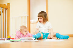 Two  children  in home Royalty Free Stock Photo