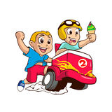 Two children and the ice cream cart. Vector illustration Royalty Free Stock Photos
