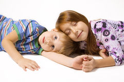 Two children isolated on white background Stock Photos