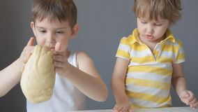 Two children knead the dough with their hands.  stock video