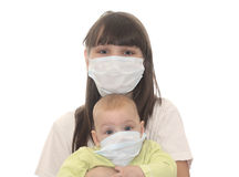 Two children in medical masks. Isolated object Stock Image
