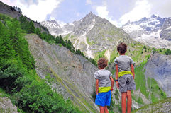 Two children in mountains. Image Royalty Free Stock Photography