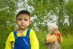 Two children on the nature Royalty Free Stock Images