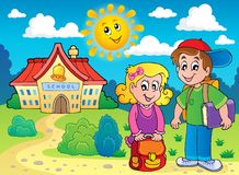 Two children near school. Eps10 vector illustration Stock Photo