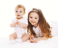 Two children, older and younger sister. Portrait of two children, older and younger sister stock images