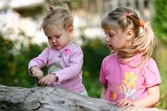 Two children outdoors Stock Photos
