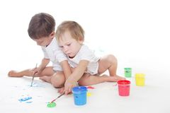 Two children painting Stock Photos