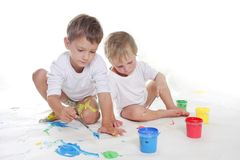 Two children painting Stock Photography