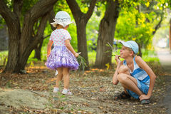 Two children in the park Stock Photo