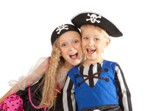 Two Children in Pirates Costumes Royalty Free Stock Photos